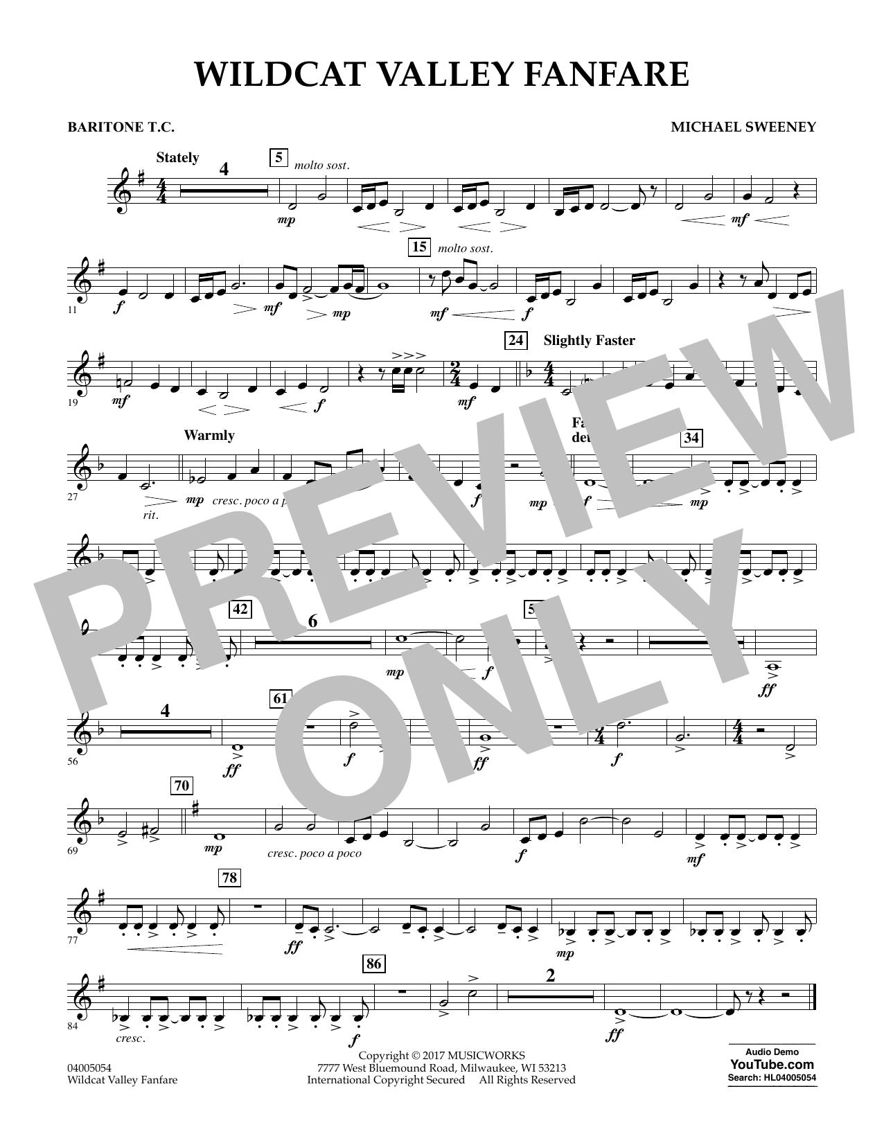 Michael Sweeney Wildcat Valley Fanfare - Baritone T.C. sheet music notes and chords. Download Printable PDF.