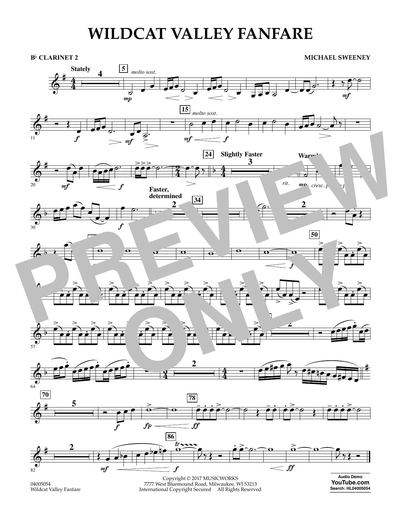 Michael Sweeney Wildcat Valley Fanfare - Bb Clarinet 2 sheet music notes and chords. Download Printable PDF.
