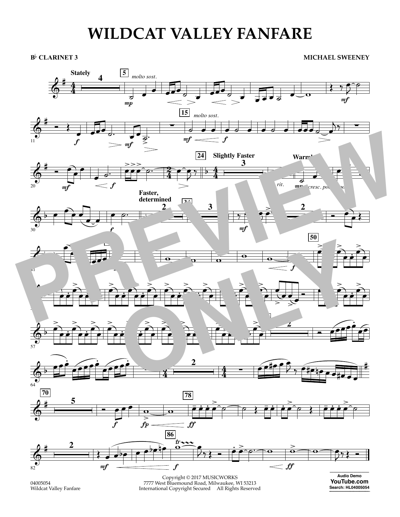 Michael Sweeney Wildcat Valley Fanfare - Bb Clarinet 3 sheet music notes and chords. Download Printable PDF.