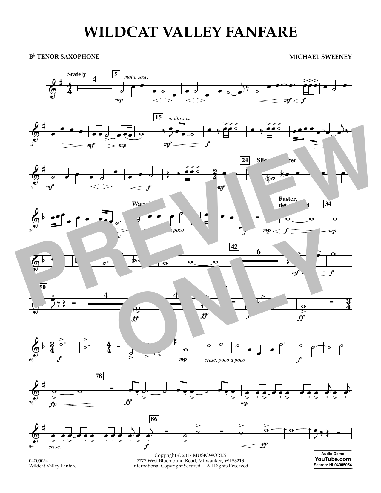 Michael Sweeney Wildcat Valley Fanfare - Bb Tenor Saxophone sheet music notes and chords. Download Printable PDF.