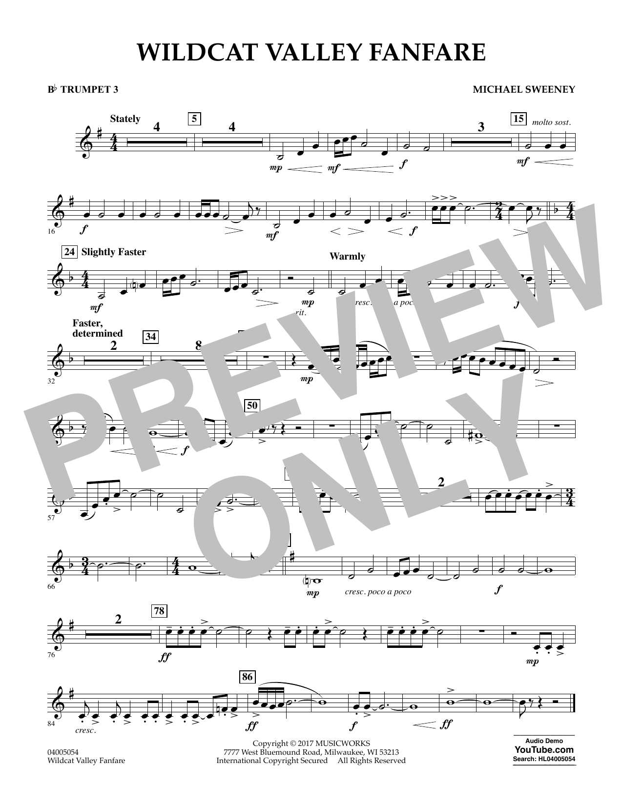 Michael Sweeney Wildcat Valley Fanfare - Bb Trumpet 3 sheet music notes and chords. Download Printable PDF.