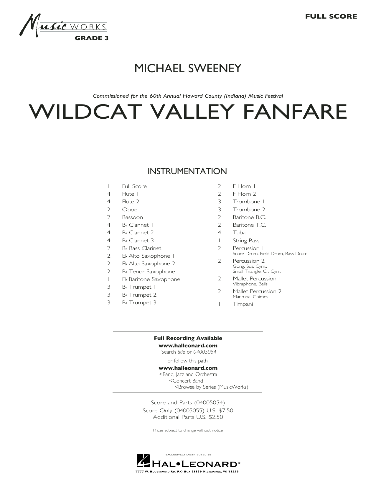 Michael Sweeney Wildcat Valley Fanfare - Conductor Score (Full Score) sheet music notes and chords. Download Printable PDF.