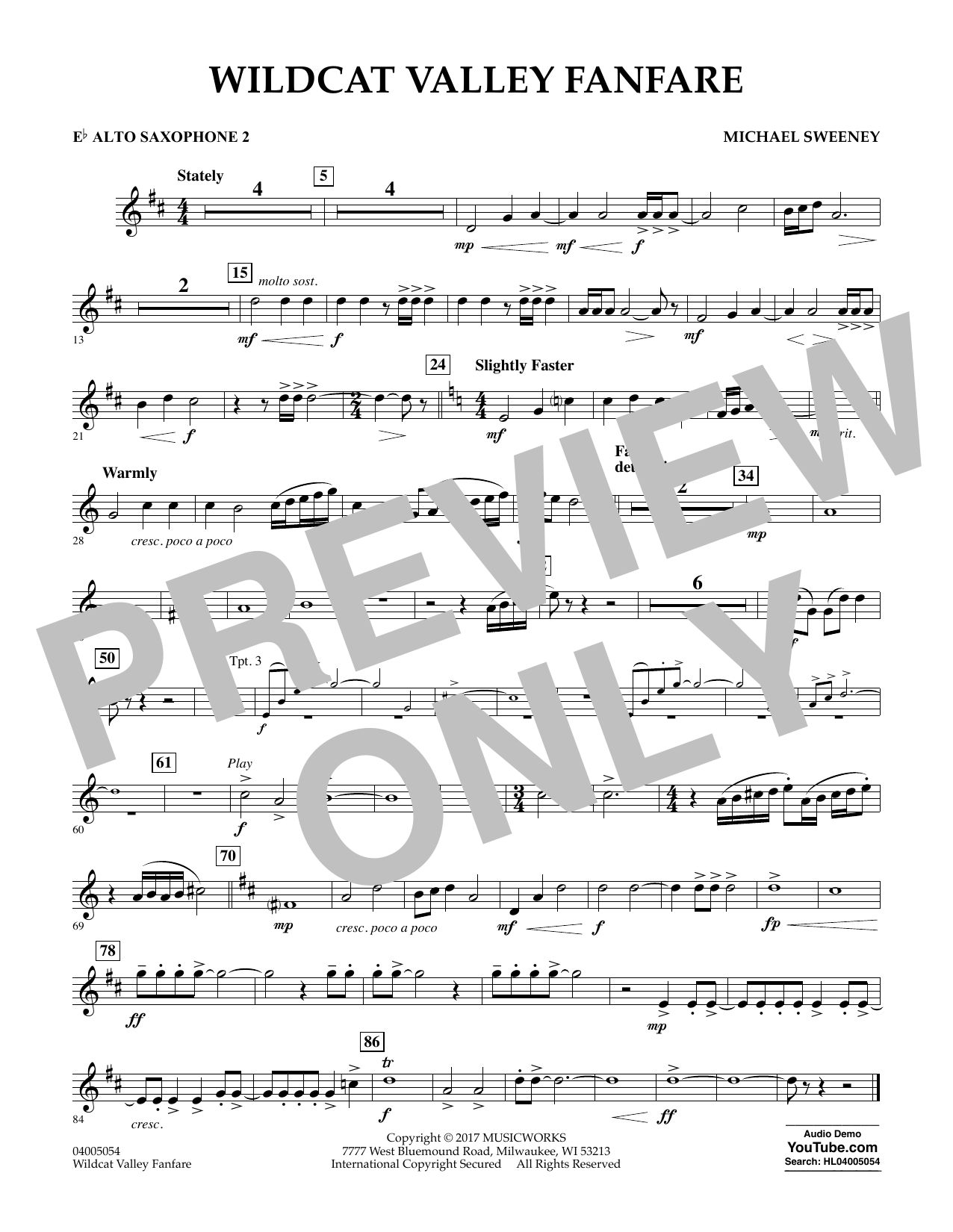 Michael Sweeney Wildcat Valley Fanfare - Eb Alto Saxophone 2 sheet music notes and chords. Download Printable PDF.