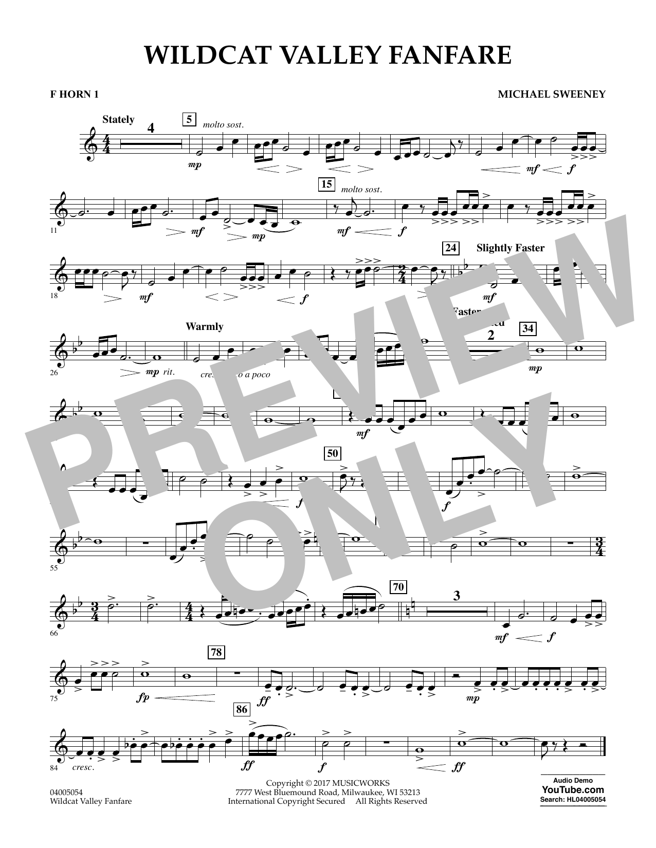 Michael Sweeney Wildcat Valley Fanfare - F Horn 1 sheet music notes and chords. Download Printable PDF.