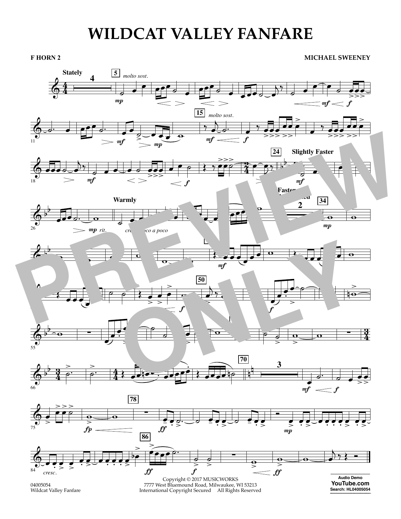 Michael Sweeney Wildcat Valley Fanfare - F Horn 2 sheet music notes and chords. Download Printable PDF.