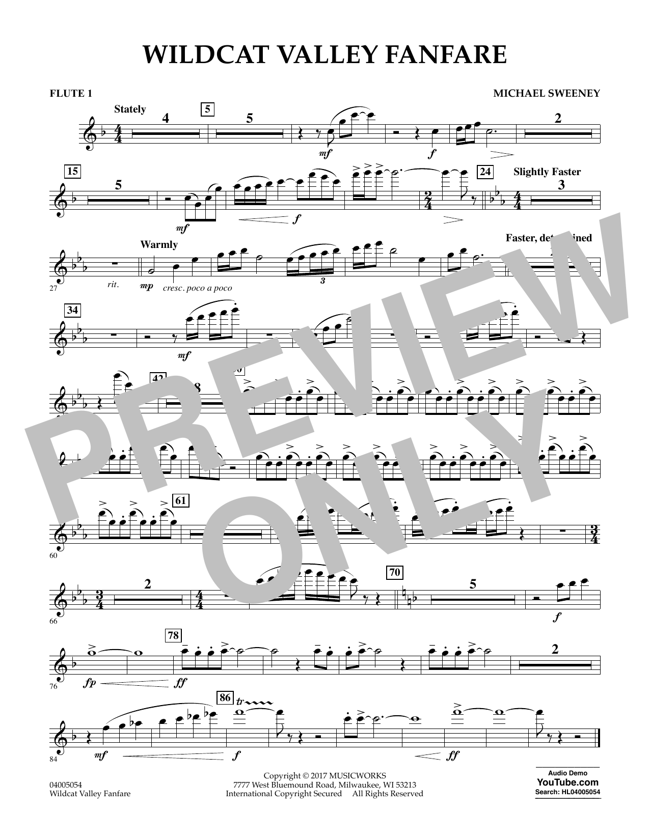 Michael Sweeney Wildcat Valley Fanfare - Flute 1 sheet music notes and chords. Download Printable PDF.