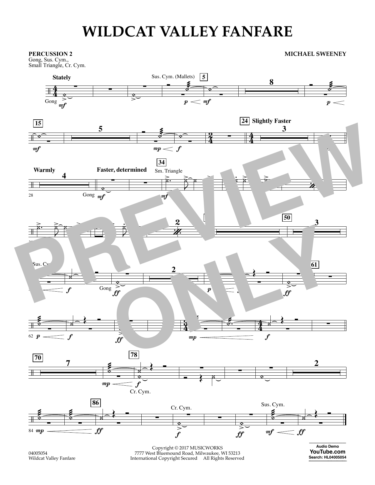 Michael Sweeney Wildcat Valley Fanfare - Percussion 2 sheet music notes and chords. Download Printable PDF.