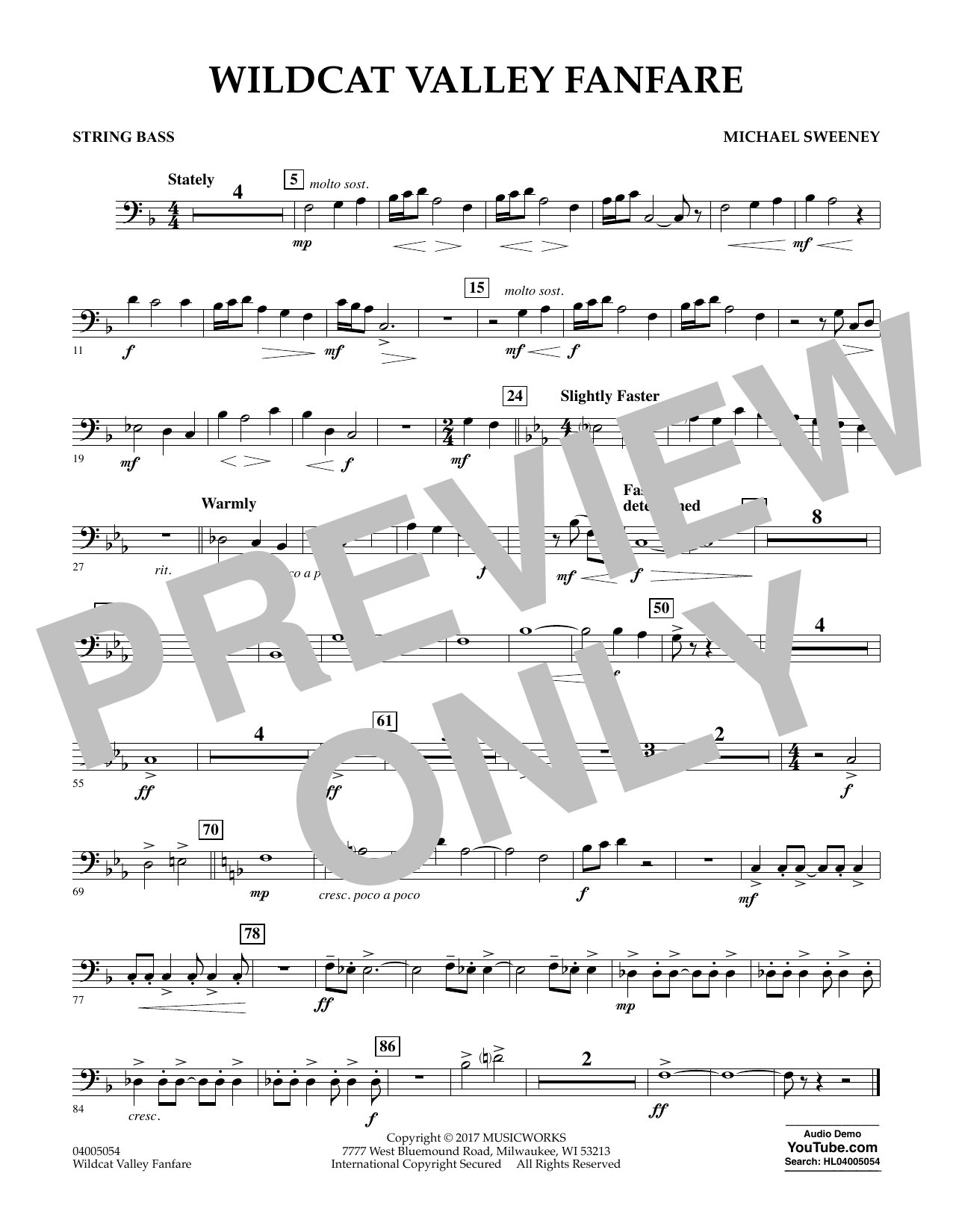 Michael Sweeney Wildcat Valley Fanfare - String Bass sheet music notes and chords. Download Printable PDF.