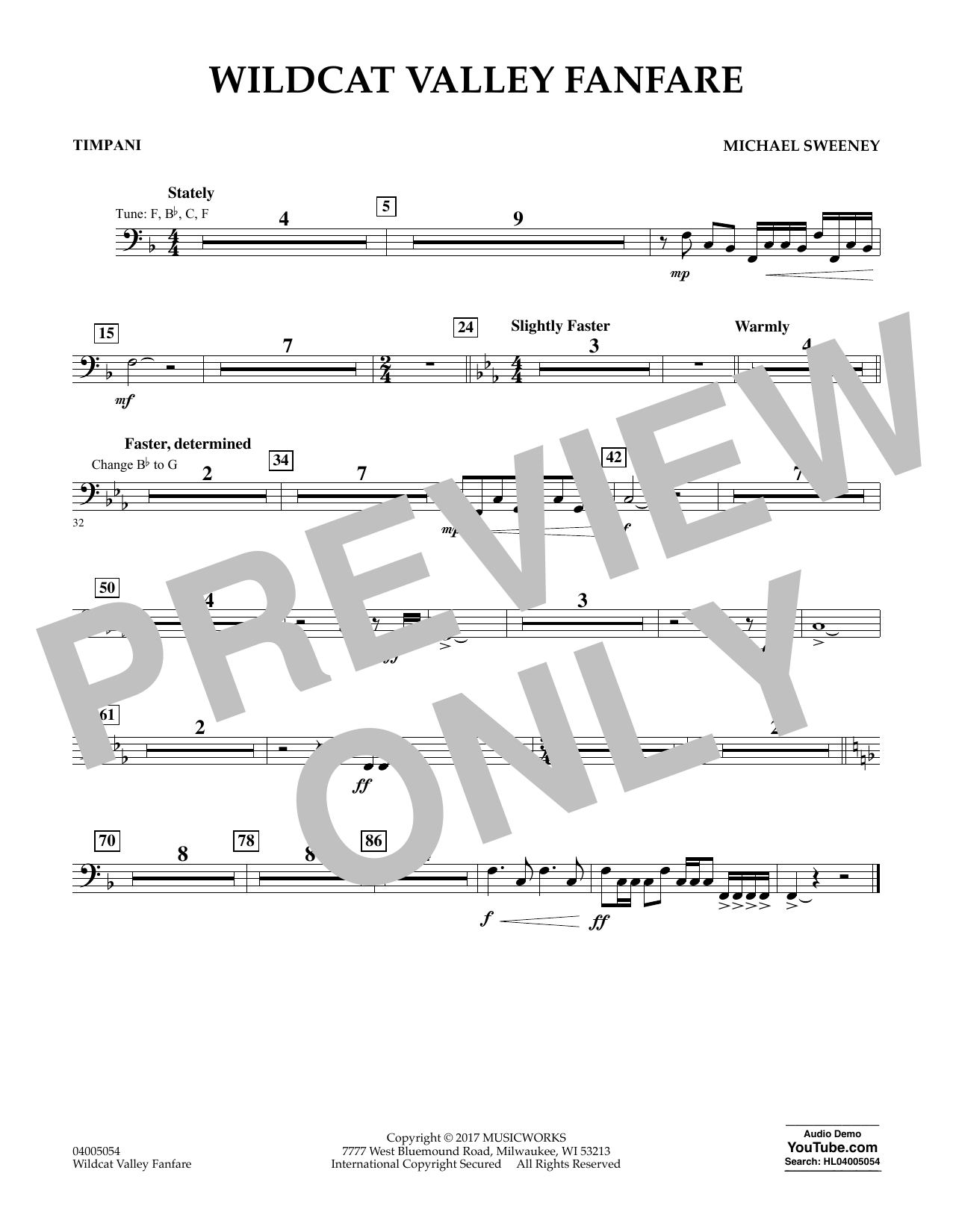 Michael Sweeney Wildcat Valley Fanfare - Timpani sheet music notes and chords. Download Printable PDF.