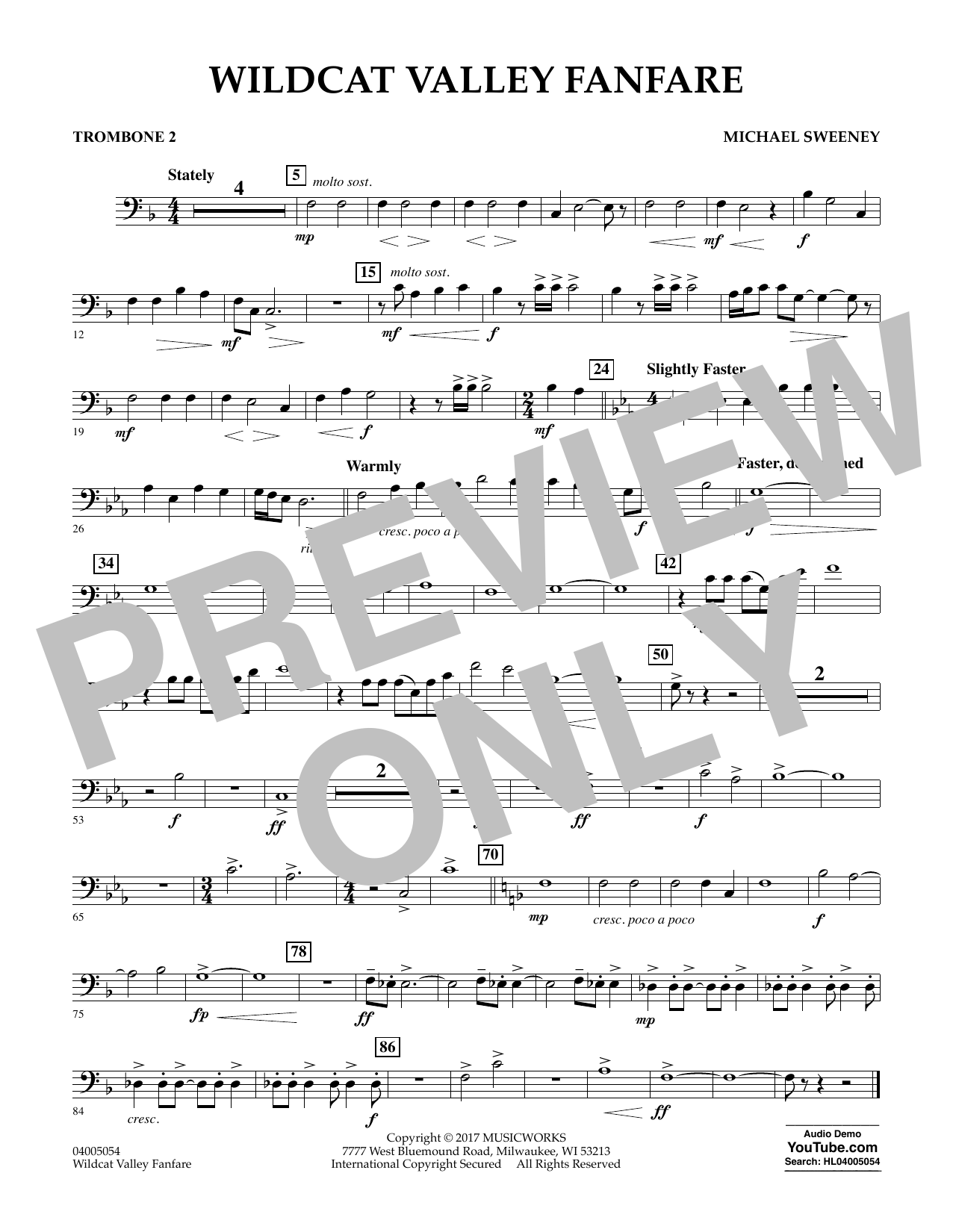 Michael Sweeney Wildcat Valley Fanfare - Trombone 2 sheet music notes and chords. Download Printable PDF.