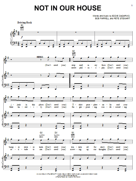 Michael Tait Not In Our House sheet music notes and chords. Download Printable PDF.