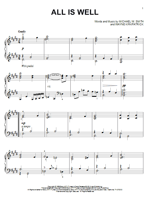 Michael W. Smith All Is Well sheet music notes and chords. Download Printable PDF.