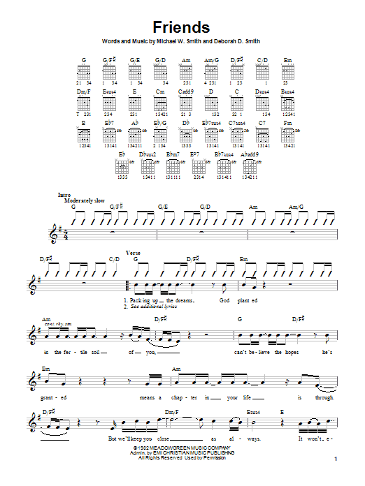 Michael W. Smith Friends sheet music notes and chords. Download Printable PDF.