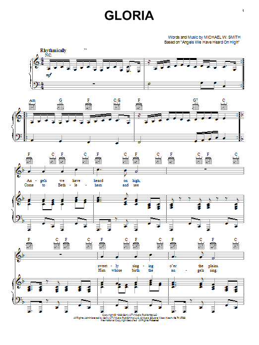 Michael W. Smith Gloria sheet music notes and chords