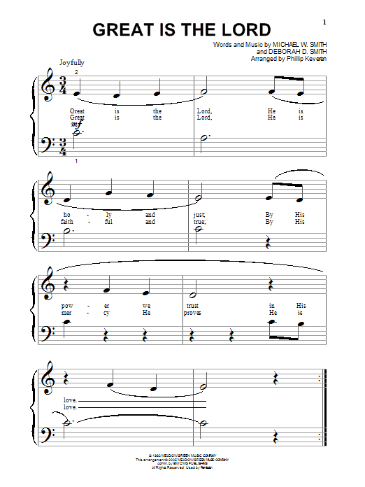 Michael W. Smith Great Is The Lord sheet music notes and chords. Download Printable PDF.