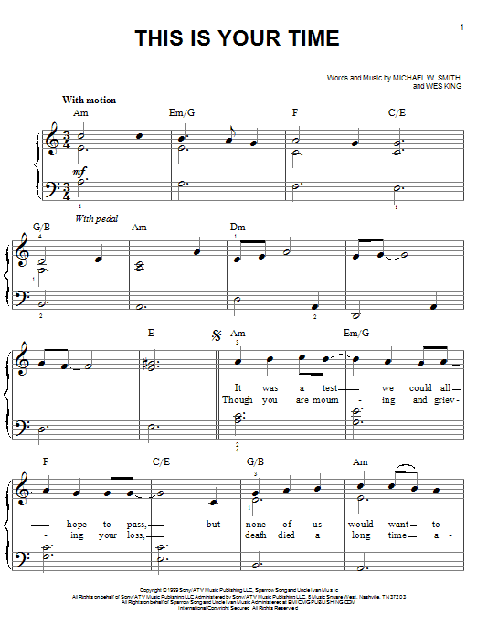 Michael W. Smith This Is Your Time sheet music notes and chords. Download Printable PDF.