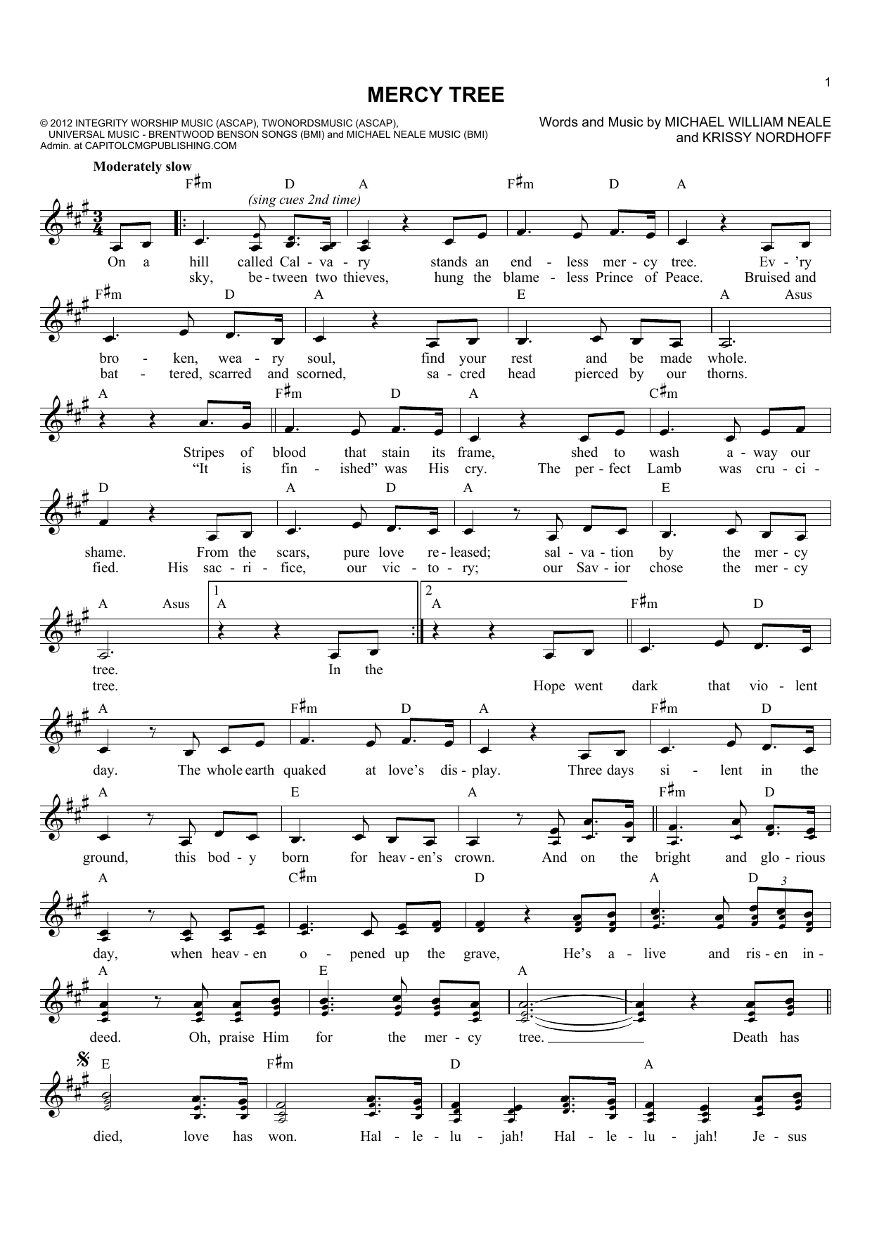 Michael William Neale Mercy Tree sheet music notes and chords. Download Printable PDF.