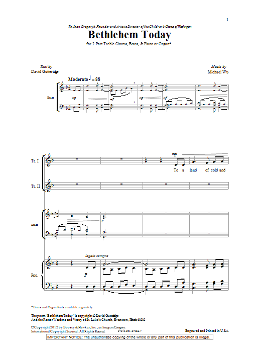 Michael Wu Bethlehem Today sheet music notes and chords. Download Printable PDF.