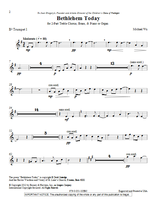 Michael Wu Bethlehem Today - Bb Trumpet 1 sheet music notes and chords. Download Printable PDF.