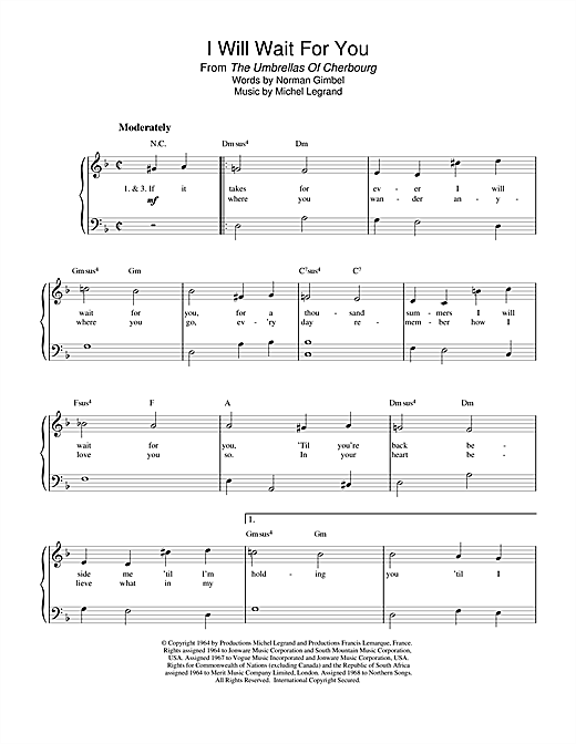 Michel Legrand I Will Wait For You (from The Umbrellas Of Cherbourg) sheet music notes and chords