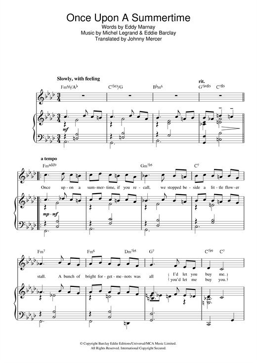 Michel Legrand Once Upon A Summertime sheet music notes and chords. Download Printable PDF.