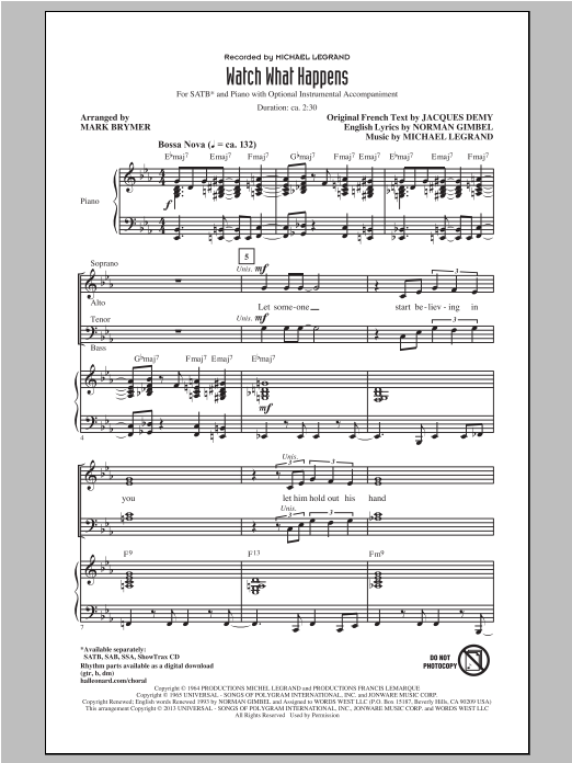 Michel Legrand Watch What Happens (arr. Mark Brymer) sheet music notes and chords. Download Printable PDF.