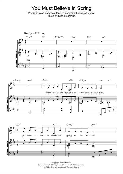 Michel Legrand You Must Believe In Spring sheet music notes and chords