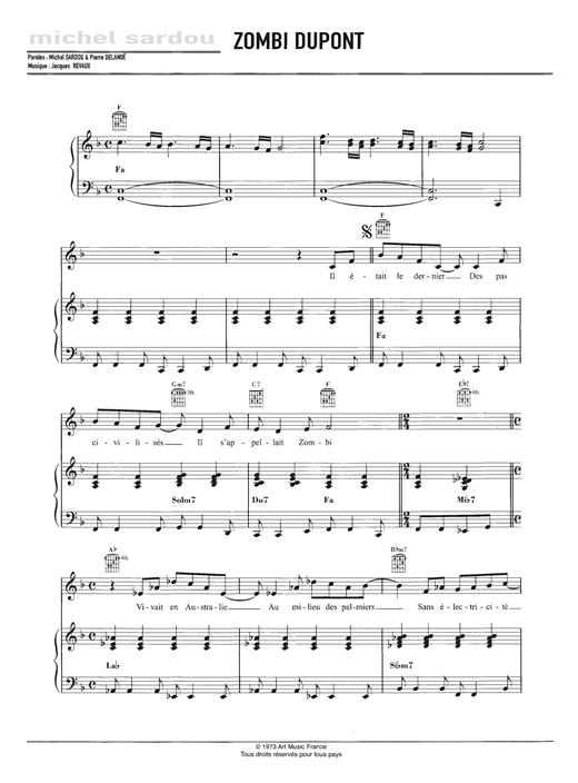Michel Sardou Zombie Dupont sheet music notes and chords. Download Printable PDF.