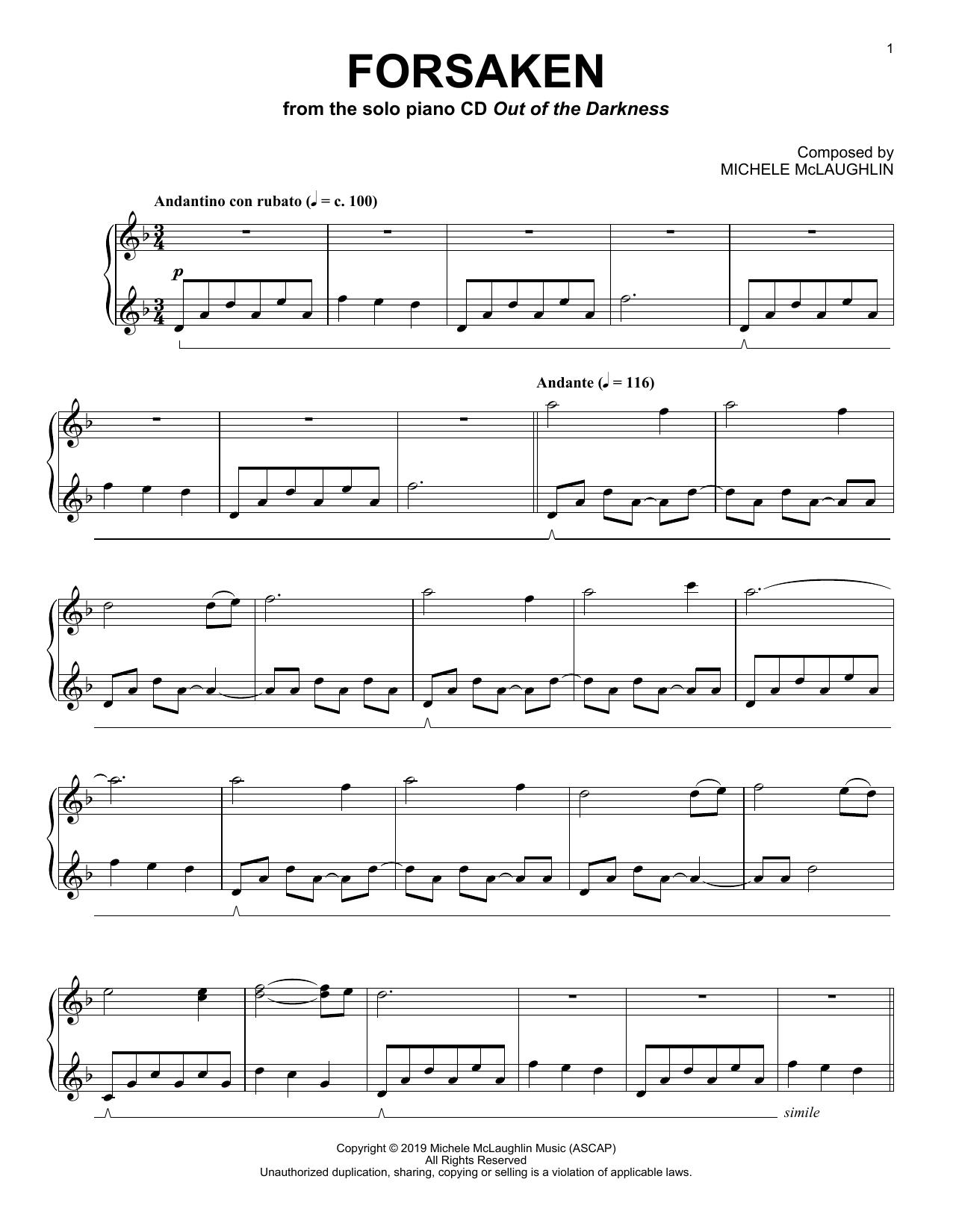 Michele McLaughlin Forsaken sheet music notes and chords. Download Printable PDF.