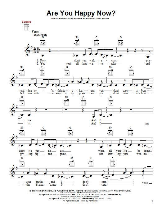 Michelle Branch Are You Happy Now? sheet music notes and chords. Download Printable PDF.