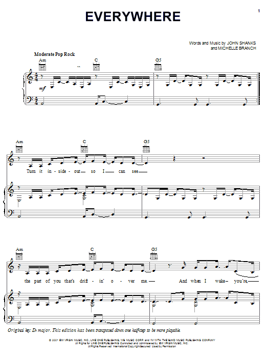 Michelle Branch Everywhere sheet music notes and chords