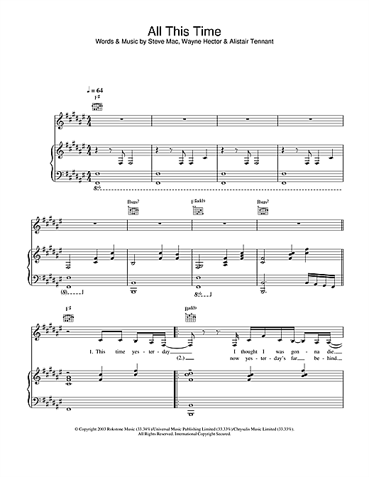 Michelle McManus All This Time sheet music notes and chords. Download Printable PDF.