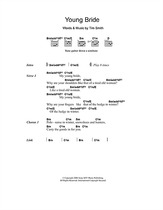Midlake Young Bride sheet music notes and chords. Download Printable PDF.