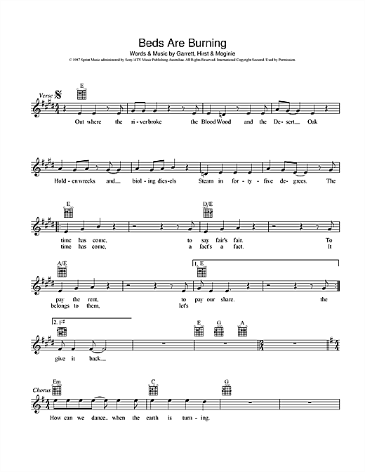 Midnight Oil Beds Are Burning sheet music notes and chords. Download Printable PDF.