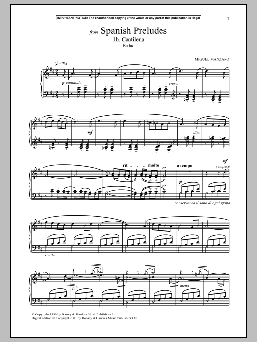 Miguel Manzano Spanish Preludes, 1b. Cantilena (Ballad) sheet music notes and chords. Download Printable PDF.