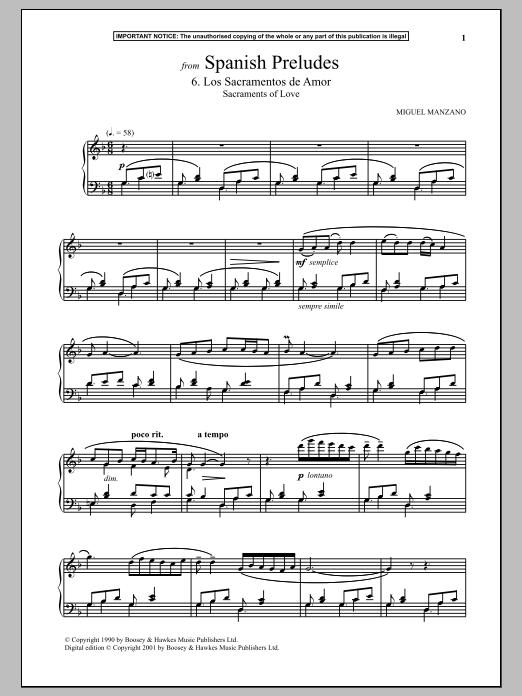 Miguel Manzano Spanish Preludes, 6. Los Sacramentos De Amor (Sacraments Of Love) sheet music notes and chords. Download Printable PDF.