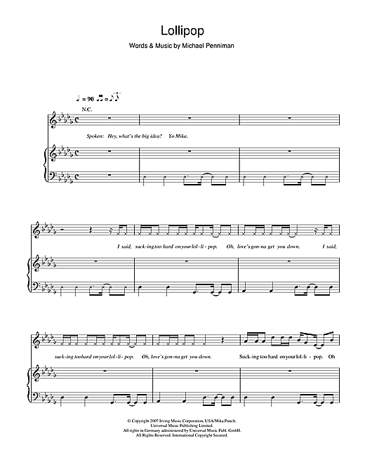 Mika Lollipop sheet music notes and chords. Download Printable PDF.