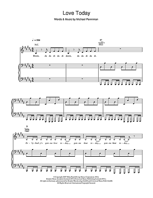 Mika Love Today sheet music notes and chords. Download Printable PDF.