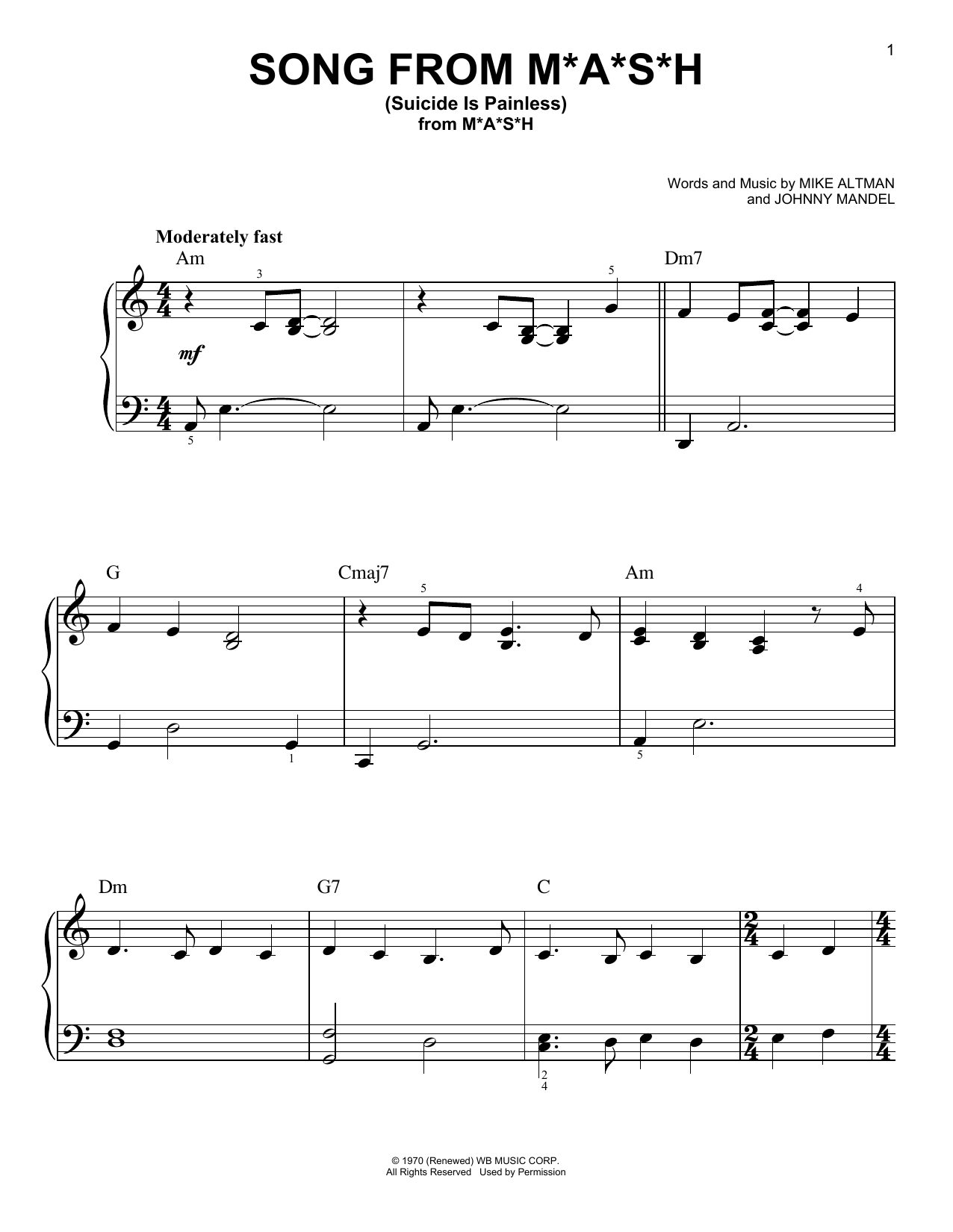 Mike Altman and Johnny Mandel Song From M*A*S*H (Suicide Is Painless) sheet music notes and chords. Download Printable PDF.