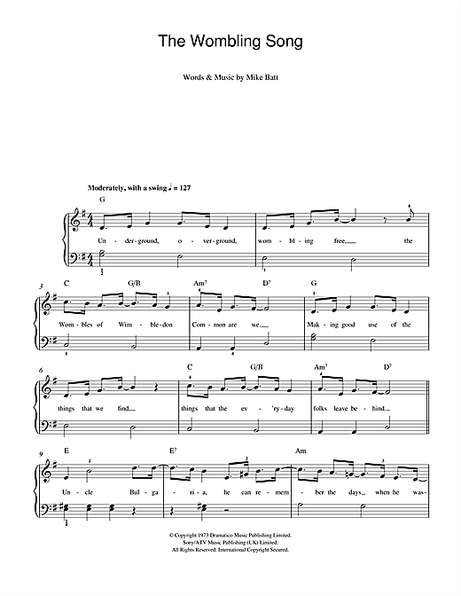 Mike Batt The Wombling Song sheet music notes and chords. Download Printable PDF.