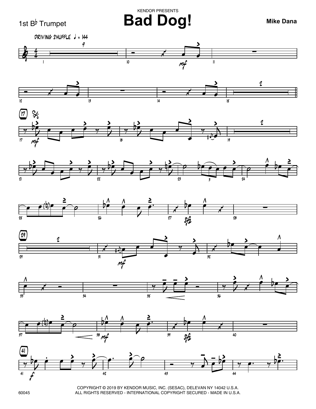 Mike Dana Bad Dog! - 1st Bb Trumpet sheet music notes and chords. Download Printable PDF.