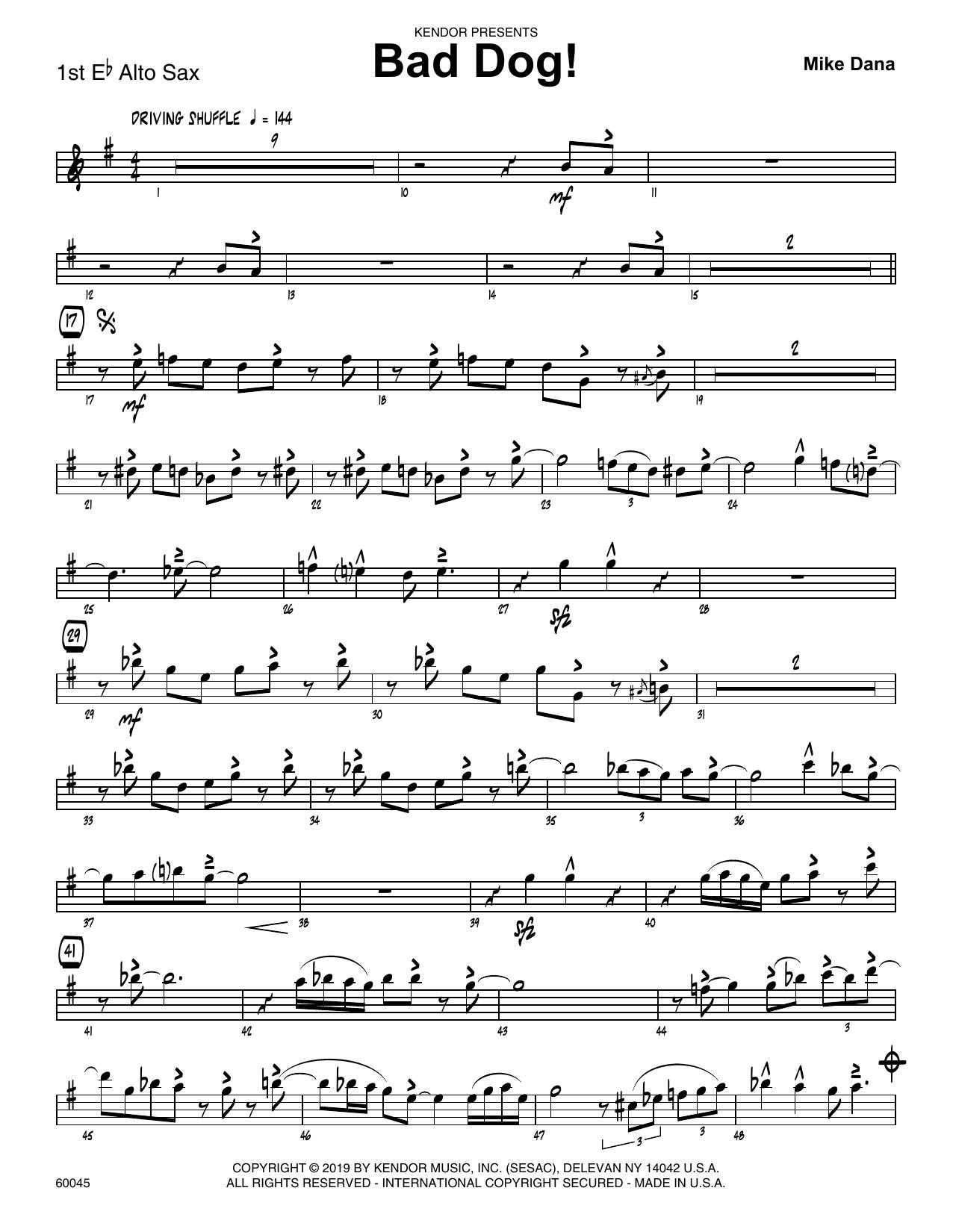 Mike Dana Bad Dog! - 1st Eb Alto Saxophone sheet music notes and chords. Download Printable PDF.