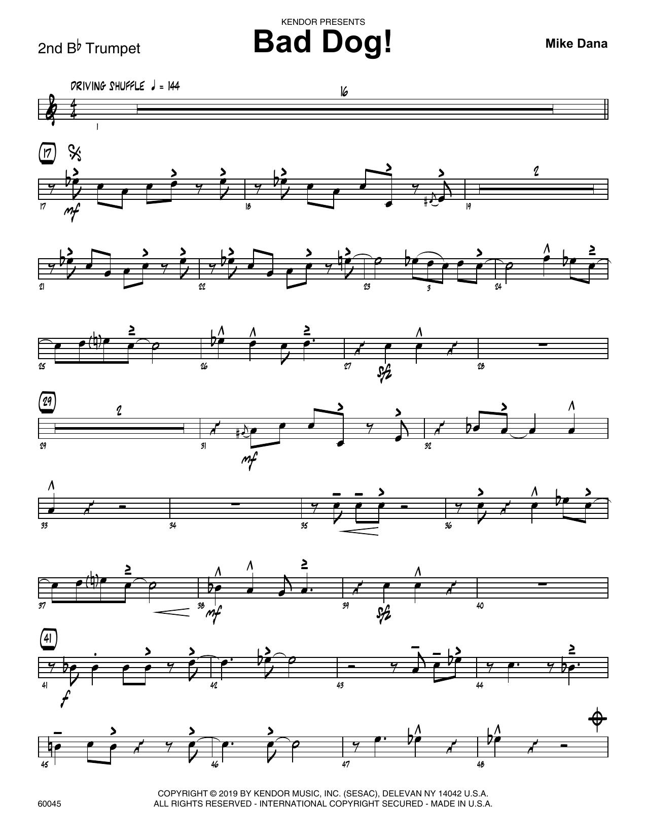 Mike Dana Bad Dog! - 2nd Bb Trumpet sheet music notes and chords. Download Printable PDF.