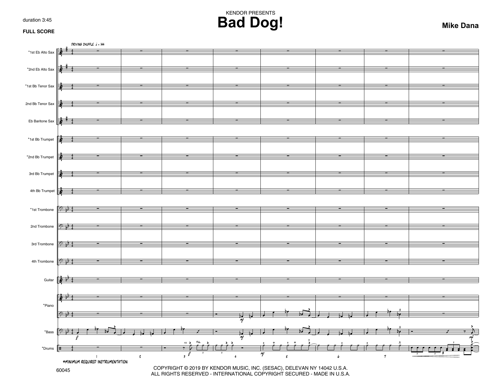 Mike Dana Bad Dog! - Full Score sheet music notes and chords. Download Printable PDF.