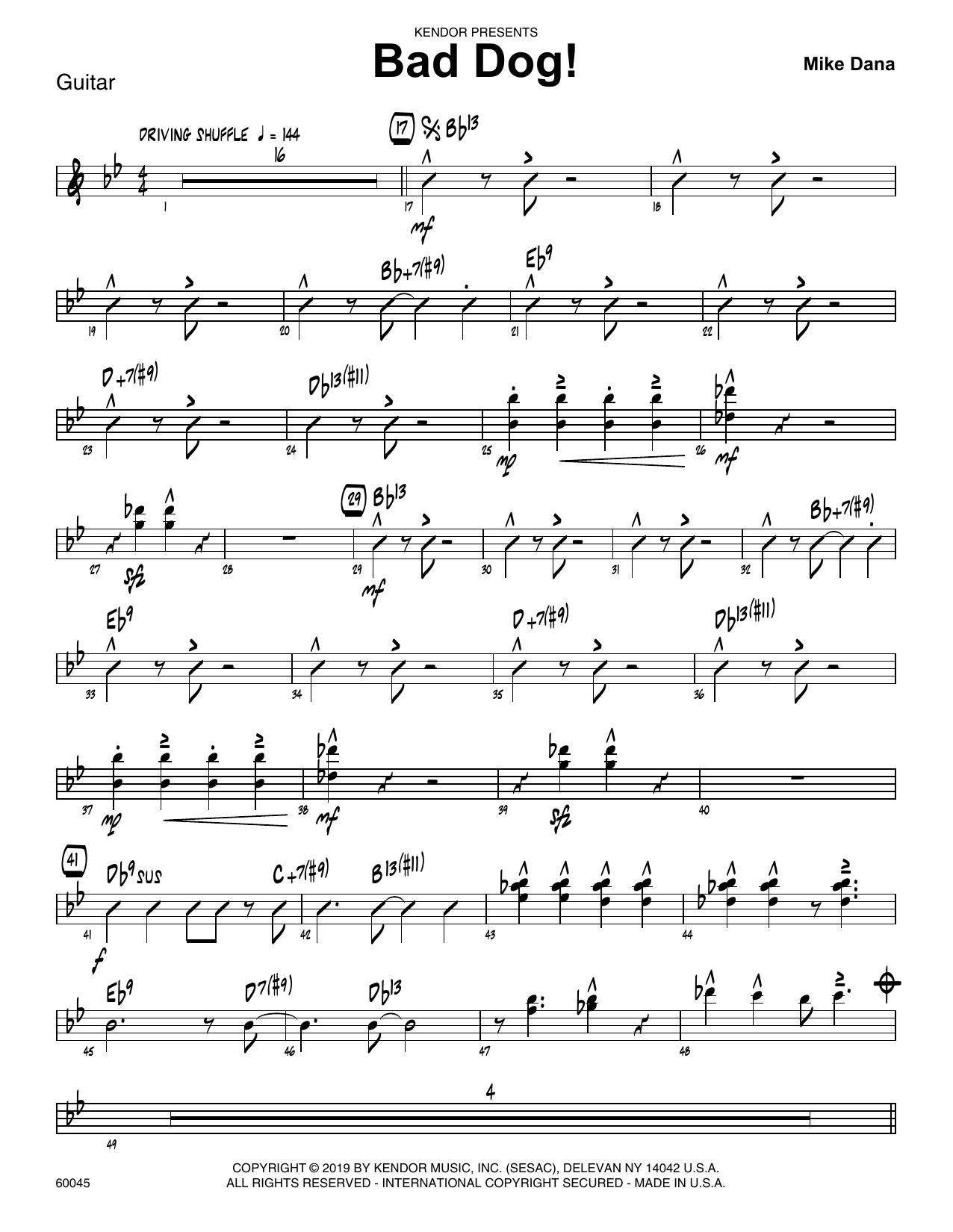 Mike Dana Bad Dog! - Guitar sheet music notes and chords. Download Printable PDF.