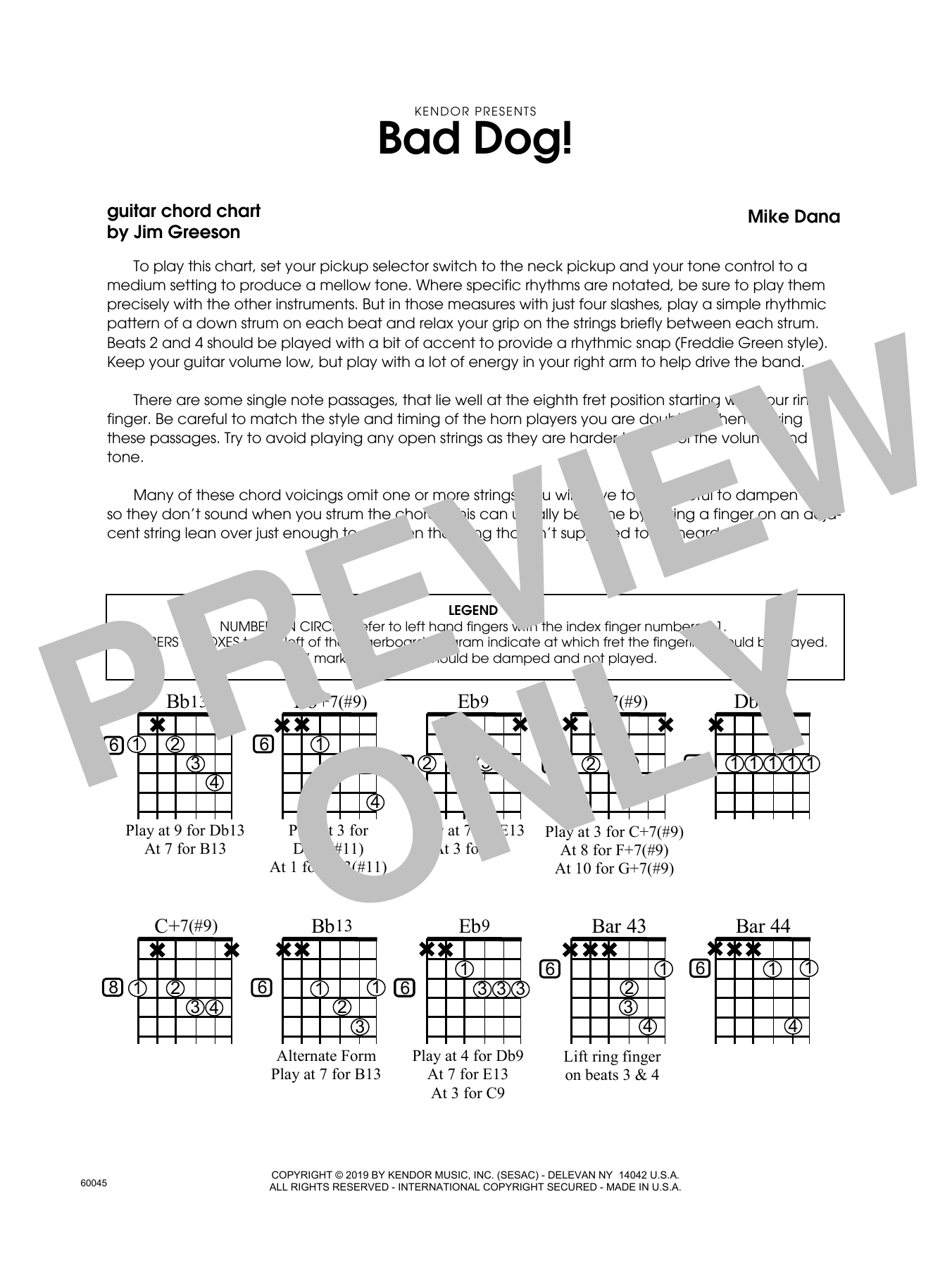 Mike Dana Bad Dog! - Guitar Chord Chart sheet music notes and chords. Download Printable PDF.