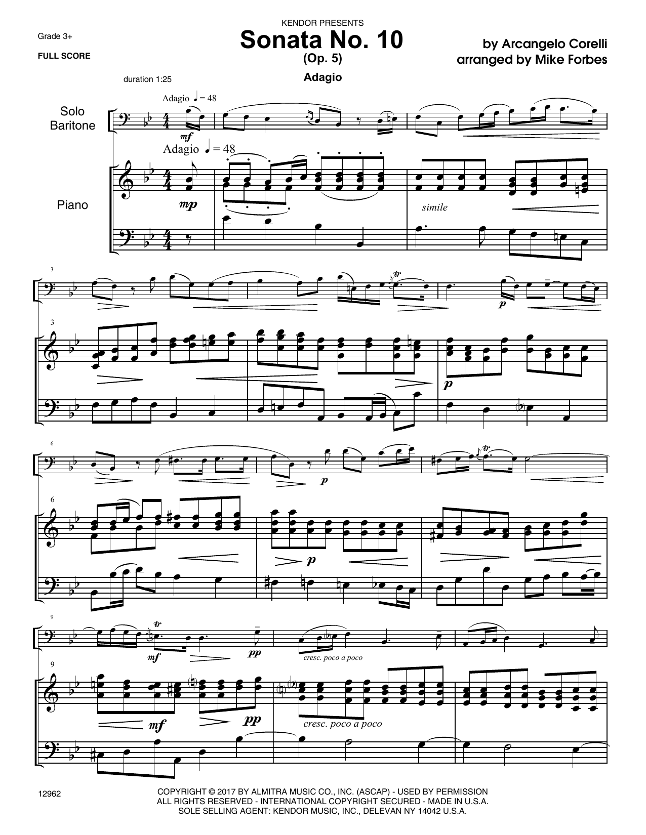 Mike Forbes Sonata No. 10 (Op. 5) - Piano Accompaniment sheet music notes and chords. Download Printable PDF.