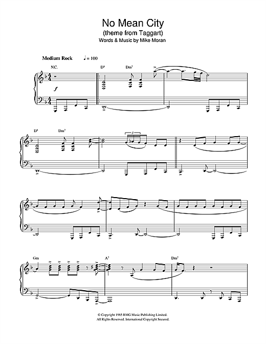 Mike Moran No Mean City (theme from Taggart) sheet music notes and chords. Download Printable PDF.