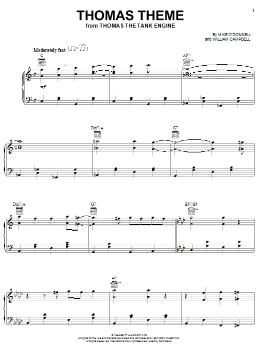Mike O'Donnell Thomas Theme sheet music notes and chords. Download Printable PDF.