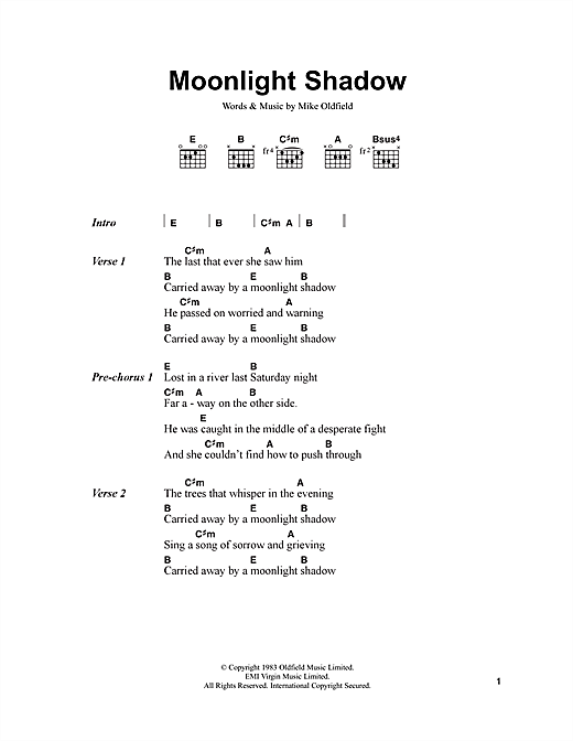 Mike Oldfield Moonlight Shadow sheet music notes and chords. Download Printable PDF.